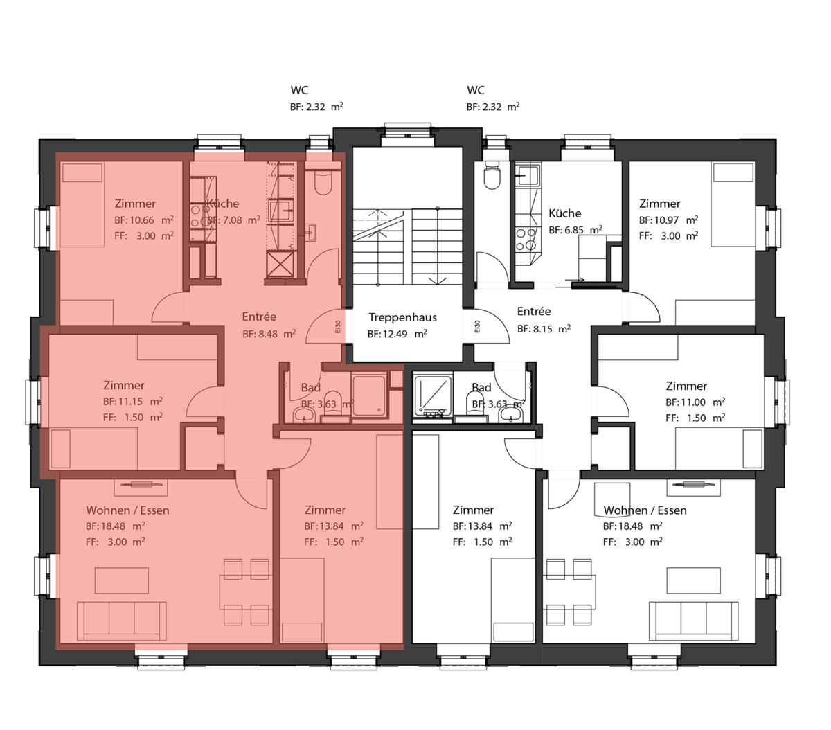 Wohnung Clariden Grundriss