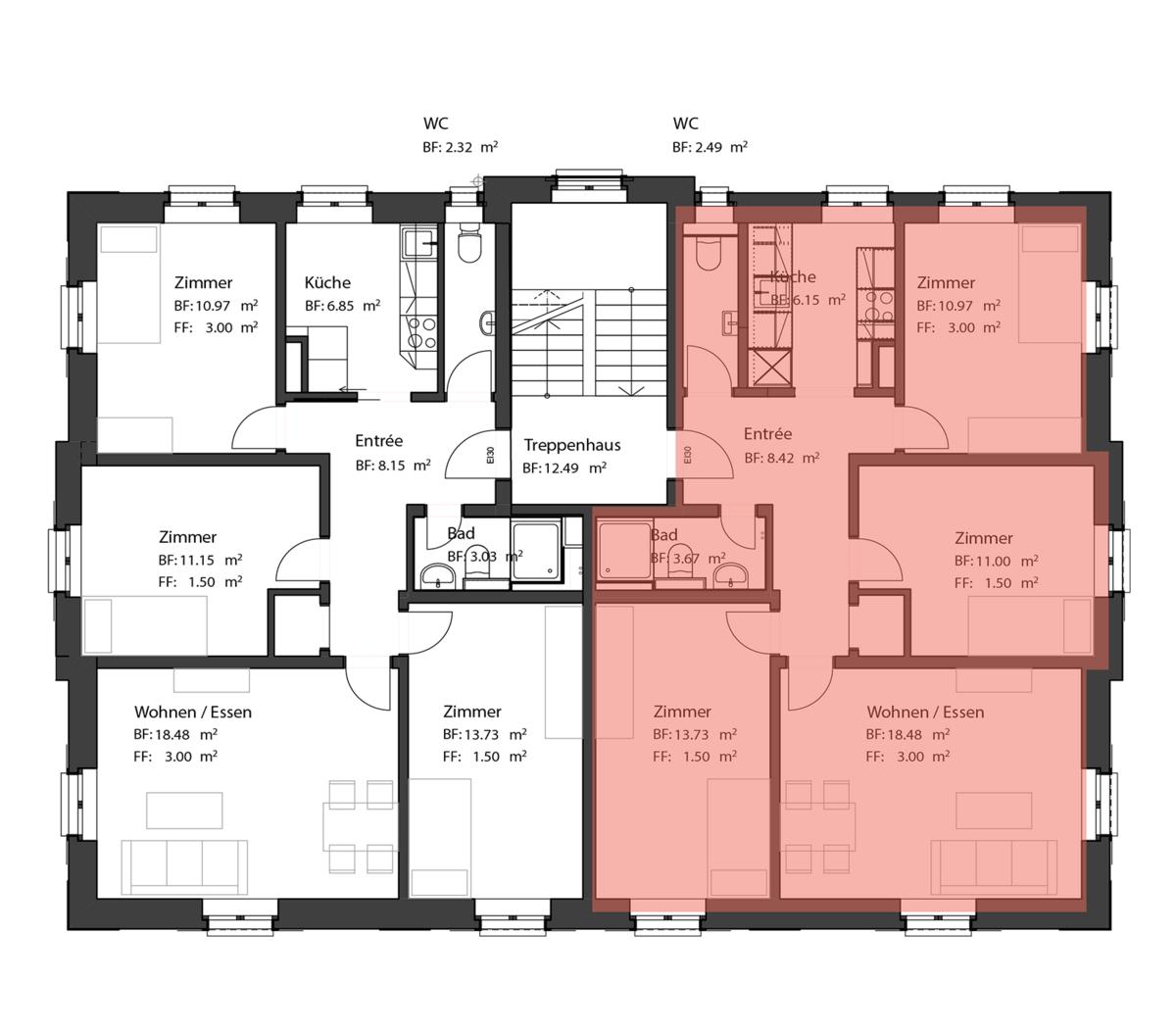 Wohnung Alvier Grundriss